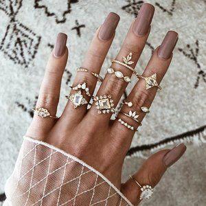 🆕 Boho Vintage Gold Star Knuckle Set: 12 x Rings
